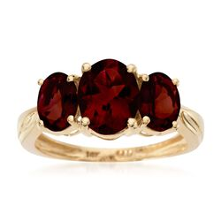 3.70 ct. t.w. Oval Garnet Three-Stone Ring in 14kt Yellow Gold, , default