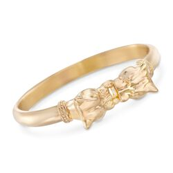 "Italian Andiamo 14kt Yellow Gold Double Panther Head Bangle Bracelet. 7.5"", , default"