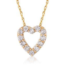 """.24 ct. t.w. Diamond Heart Necklace in 14kt Yellow Gold. 18"""", , default"""