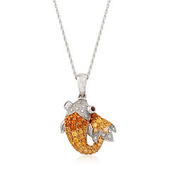 """.90 ct. t.w. Citrine Koi Pendant Necklace With Diamond and Garnets in Sterling Silver. 18"""", , default"""