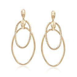 Italian 14kt Yellow Gold Double Hoop Drop Earrings, , default