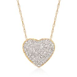 """.25 ct. t.w. Diamond Heart Pendant Necklace in 14kt Yellow Gold. 16"""", , default"""