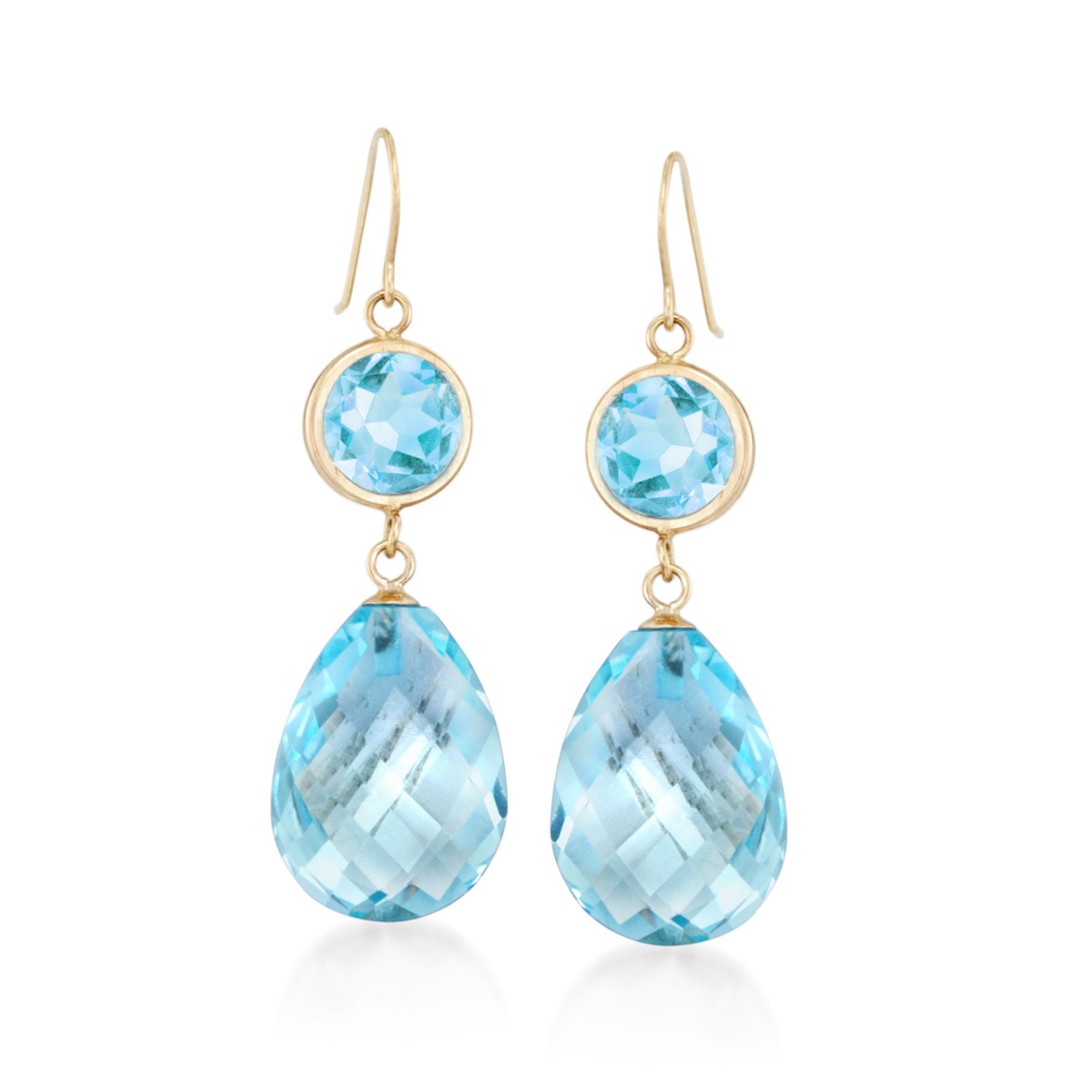 22 00 ct t w Blue Topaz Drop Earrings in 14kt Yellow Gold