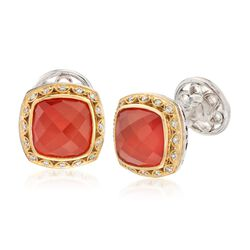 C. 2000 Vintage Tacori Carnelian Doublet and .25 ct. t.w. Diamond Cufflinks in Sterling Silver and 18kt Gold , , default
