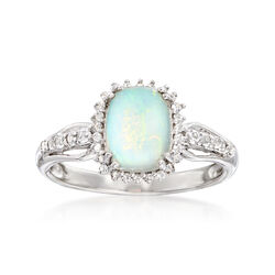 Ethiopian Opal and .35 ct. t.w. White Topaz Ring in Sterling Silver, , default