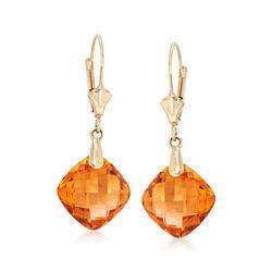 7.60 ct. t.w. Citrine Drop Earrings in 14kt Yellow Gold, , default