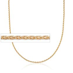 "Italian 2mm 18kt Yellow Gold Diamond-Cut Wheat Chain Necklace. 18"", , default"