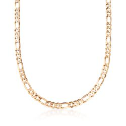"""C. 2000 Vintage 5.8mm 10kt Yellow Gold Figaro Chain Necklace. 22"""", , default"""