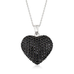 """4.00 ct. t.w. Black Spinel Heart Pendant Necklace in Sterling Silver. 18"""", , default"""