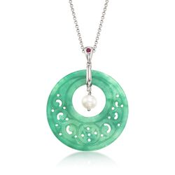 """Carved Green Jade and 7.5-8mm Cultured Pearl Open Circle Necklace With Ruby Accent in Sterling Silver. 18"""", , default"""