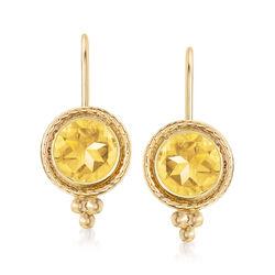 1.50 ct. t.w. Citrine Drop Earrings in 14kt Yellow Gold, , default