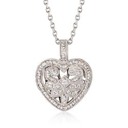 """.20 ct. t.w. Diamond Fancy Heart Locket Necklace in Sterling Silver. 18"""", , default"""