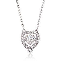 """Swarovski Crystal """"Sparkling Dance"""" Floating Crystal Heart Necklace in Silvertone. 14.75"""", , default"""
