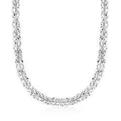 Italian Sterling Silver Mirror-Link Collar Necklace, , default