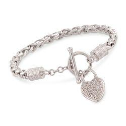 """.10 ct. t.w. Diamond Heart Charm Bracelet in Sterling Silver. 7.5"""", , default"""