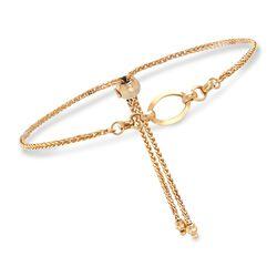 Italian 14kt Yellow Gold Open Oval Bolo Bracelet. Adjustable Size, , default