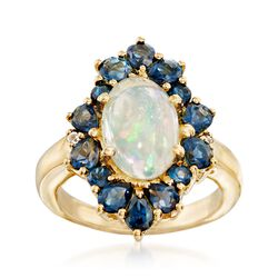 Ethiopian Opal and 2.00 ct. t.w. London Blue Topaz Ring in 14kt Gold Over Sterling. Size 6, , default