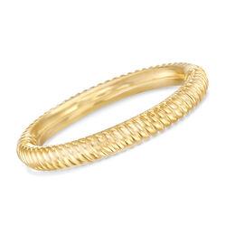 "Italian Andiamo 14kt Yellow Gold Ribbed Bangle Bracelet. 8"", , default"