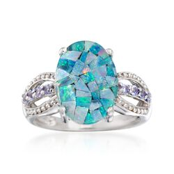 Blue Mosaic Opal Triplet and .20 ct. t.w. Tanzanite Ring in Sterling Silver, , default
