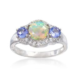 Opal and And .40 ct. t.w. Tanzanite Ring With White Topaz in Sterling Silver, , default