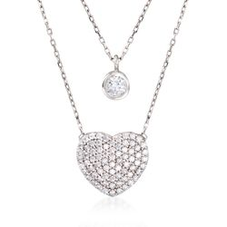 """1.00 ct. t.w. CZ Layered Heart and Solitaire Necklace in Sterling Silver. 18"""", , default"""