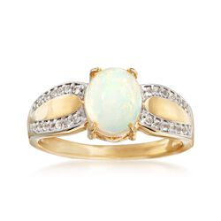 Opal and .10 ct. t.w. White Topaz Ring in 18kt Gold Over Sterling, , default