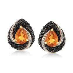 2.10 ct. t.w. Citrine and 1.20 ct. t.w. Black Spinel Earrings With White Zircon Accents in 18kt Yellow Gold Over Sterling Silver, , default