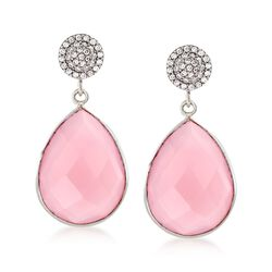 Rose Quartz and .33 ct. t.w. CZ Drop Earrings in Sterling Silver , , default