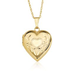 """14kt Yellow Gold Engraved Heart Locket Necklace. 18"""", , default"""