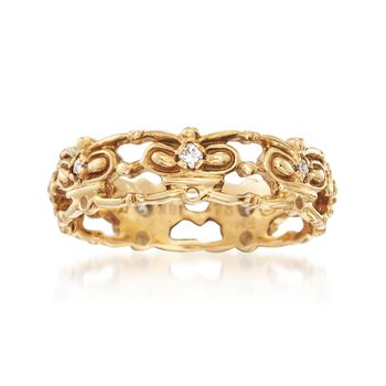 C. 1980 Vintage Men's .20 ct. t.w. Diamond Openwork Ring in 18kt Yellow Gold. Size 11, , default