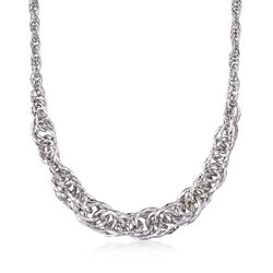 """Sterling Silver Graduated Circle Link Necklace. 18"""", , default"""