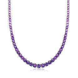 """35.00 ct. t.w. Graduated Ombre Amethyst Tennis Necklace in Sterling Silver. 18"""", , default"""