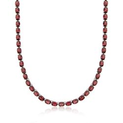 """55.00 ct. t.w. Garnet Tennis Necklace With Sterling Silver. 18"""", , default"""
