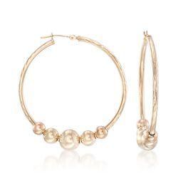 "14kt Yellow Gold Beaded Hoop Earrings. <span class='nowrap'>1 5/8""</span>, , default"