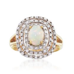 Opal and .90 ct. t.w. White Zircon Triple Frame Ring in 18kt Gold Over Sterling, , default