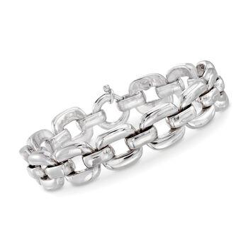 "Italian Sterling Silver Open Square-Link Bracelet. 7"", , default"