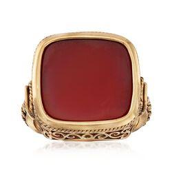 C. 1960 Vintage Men's Carnelian Ring in 14kt Yellow Gold. Size 10.5, , default