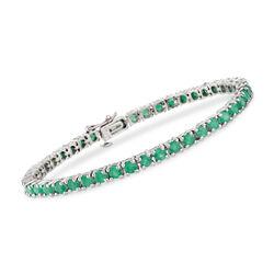 """6.60 ct. t.w. Emerald Tennis Bracelet in Sterling Silver. 7.25"""", , default"""