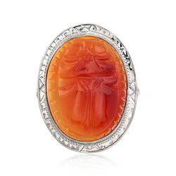 C. 1950 Vintage 19x15mm Carved Orange Carnelian Ring in 14kt White Gold. Size 5.5, , default