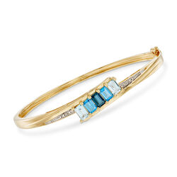 """3.10 ct. t.w. Tonal Blue Topaz Bangle Bracelet With Diamond Accents in 18kt Gold Over Sterling. 7.5"""", , default"""