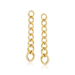Italian 14kt Yellow Gold Graduated Curb-Link Drop Earrings, , default