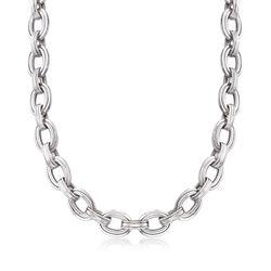 """Sterling Silver Oval-Link Necklace. 18"""", , default"""