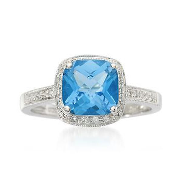 2.25 Carat Blue Topaz and .15 ct. t.w. Diamond Ring in 14kt White Gold #467184