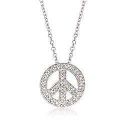 .10 ct. t.w. Diamond Peace Sign Necklace in 14kt White Gold# 102719