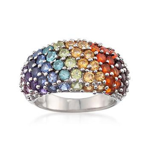 3.40 ct. t.w. Multi-Stone and Fire Opal Rainbow Ring in Sterling Silver #822693