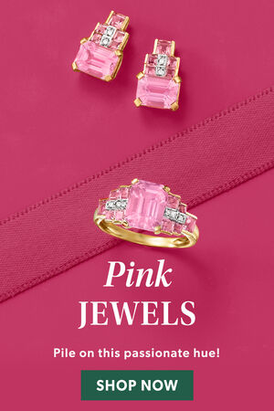 Pink Jewels. Pile On This Passionate Hue! Shop Now. Image Featuring Pink Gemstone Jewelry on Pink Background
