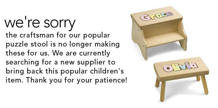 We're sorry. The craftsman for our popular puzzle stool is no longer making these for us. We are currently searching for a new supplier to bring back this popular children's item. Thank you for your patience. Two children's stools pictured.