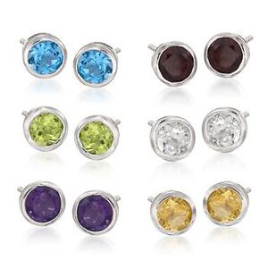 Set of Six Pairs of 10.50 ct. t.w. Multi-Stone Earrings in Sterling Silver #797705