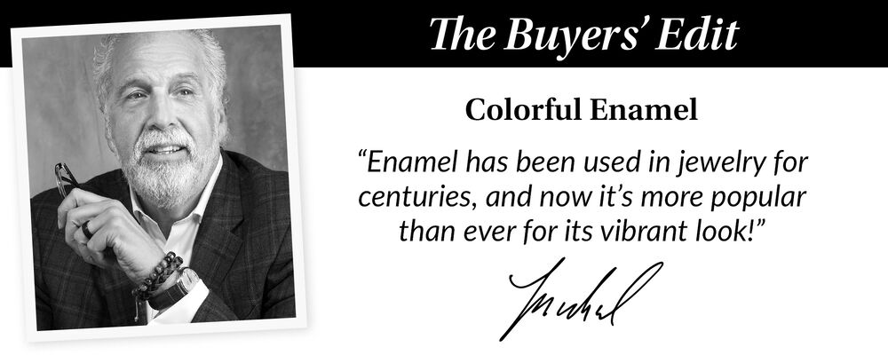 """The Buyer's Edit. Colorful Enamel. """"Enamel has benn used in jewelry for centuries, and now it's more popular than ever for it's vibrant, vintage look"""". Image features head shot of our buyer Michael"""