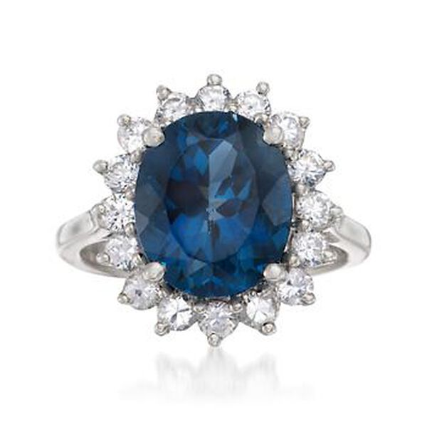 5.40 Carat London Blue Topaz and 1.10 ct. t.w. White Topaz Ring in Sterling Silver #685179